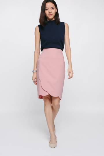 Shayette Scallop Crossover Skirt