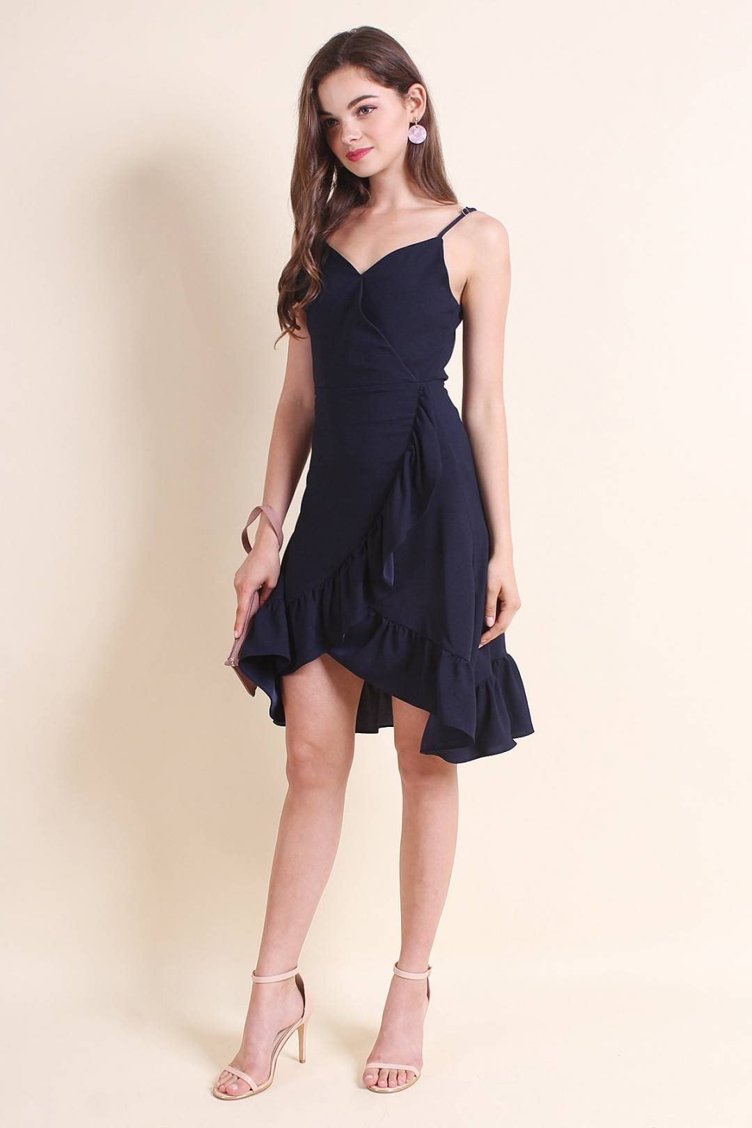 MADEBYNM DANIELLE RUFFLES OVERLAP DRESS IN SOLID NAVY [XS/S/M/L]