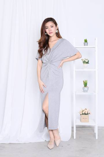 *BACKORDER* JORDYN SLIT MAXI IN LIGHT GREY