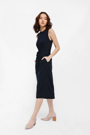 Jalbanya Wrap Belt Midi Jumpsuit