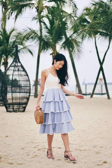 MADEBYNM MAYFAIR CUPCAKE TIER GINGHAM DRESS IN COTTAGE BLUE [XS/S/M/L]