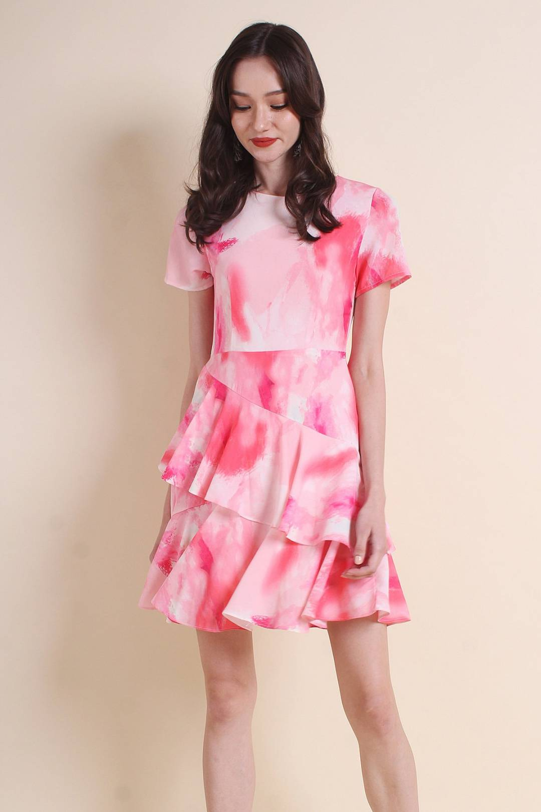 MADEBYNM NELLIE RUFFLES TIER WAISTED DRESS IN PINK ABSTRACT [XS/S/M/L]