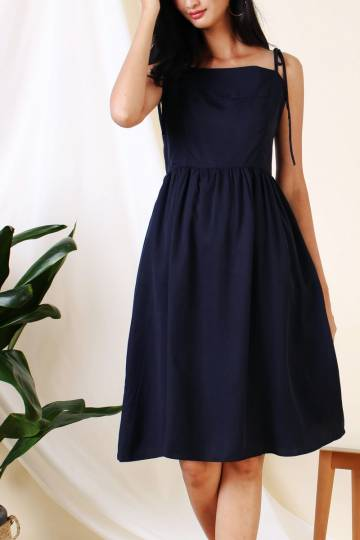 ANGELA TIE SHOULDER DRESS NAVY