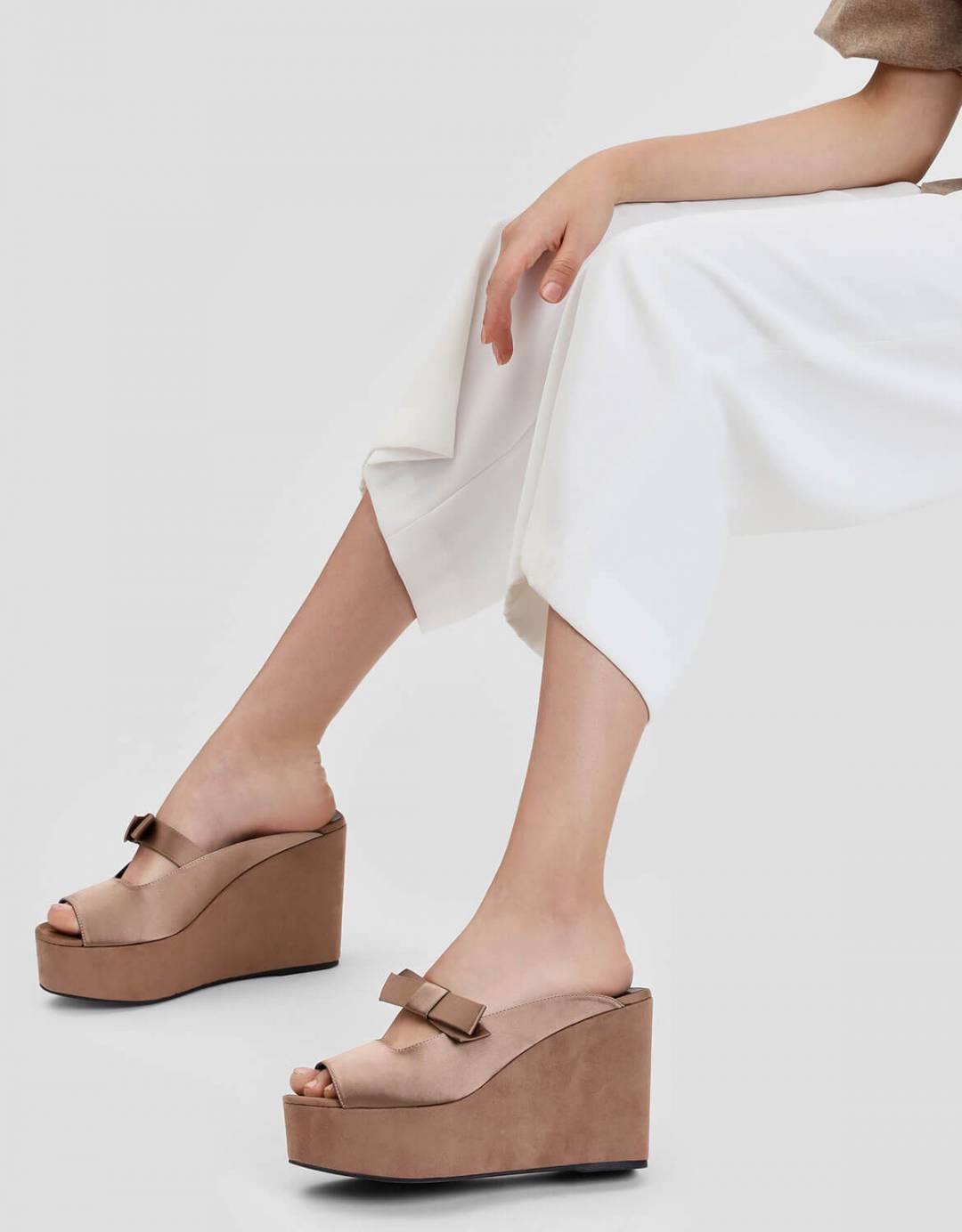 Bow Detail Wedge Mules