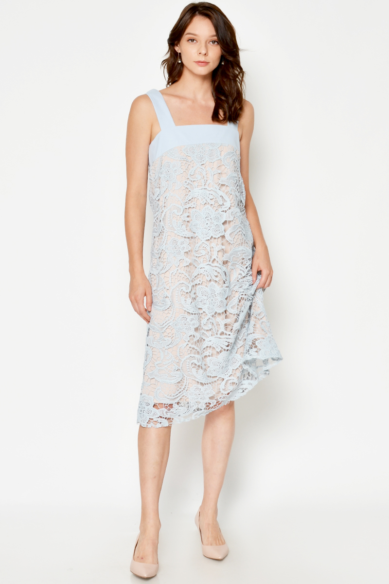 DARLENE CROCHET DRESS LIGHT BLUE