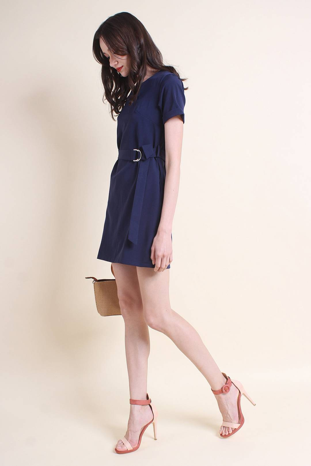 MADEBYNM MURPHY BELTED SLEEVE WORK DRESS IN NAVY BLUE [XS/S/M/L]