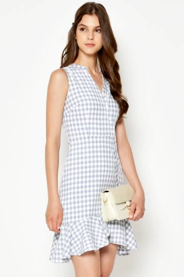 TAYA CHECKERED LAYERED HEM DRESS GREY