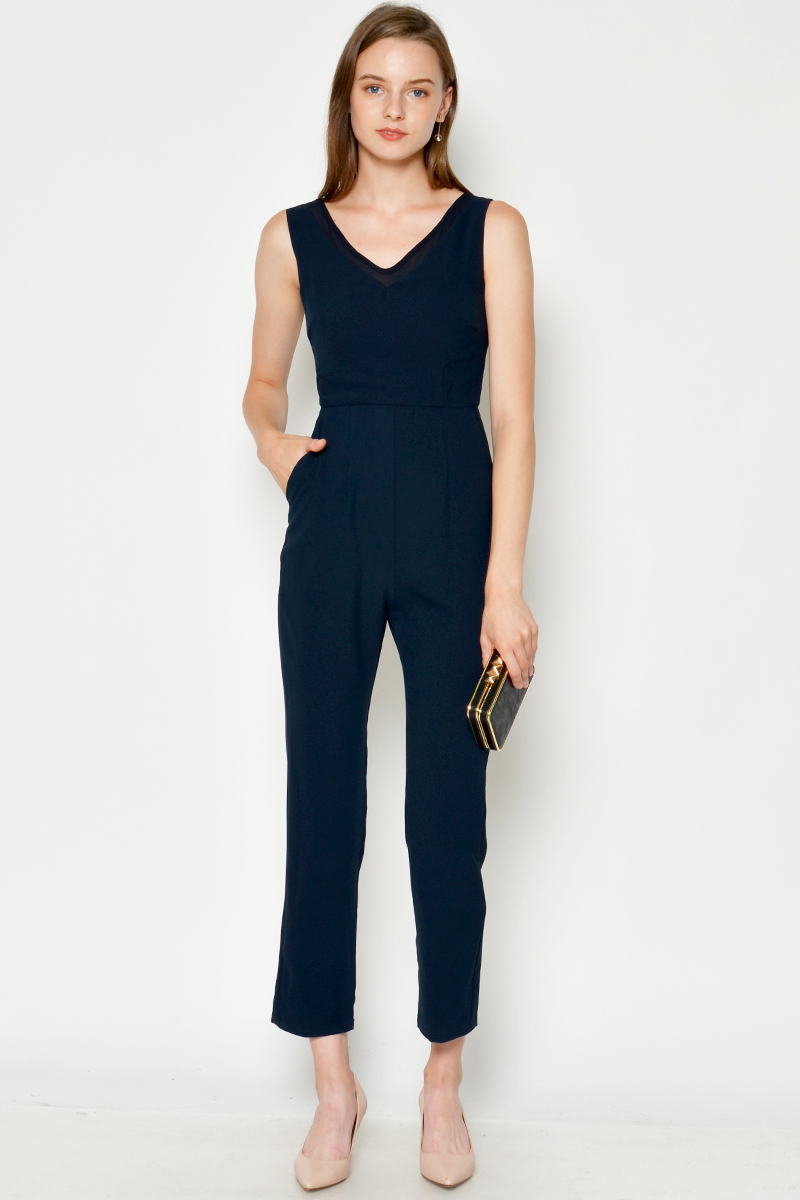 TOMMA MESH V NECK JUMPSUIT NAVY