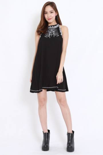 Embroidered High Neck Flare Dress (Black)