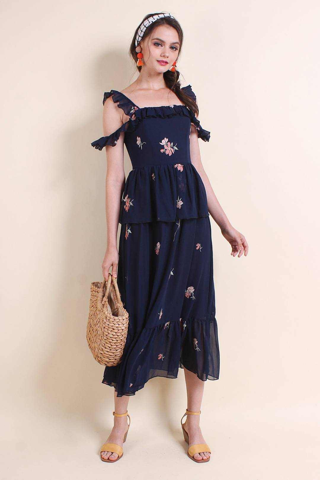 MADEBYNM ARIZONA RUFFLES TIER MAXI DRESS IN NAVY BLUE [XS/S/M/L]