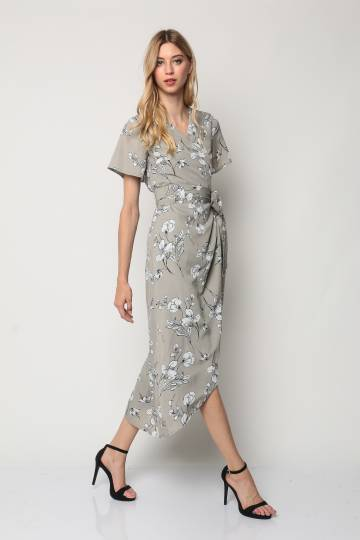 Floral Maxi Wrap Dress (Grey)