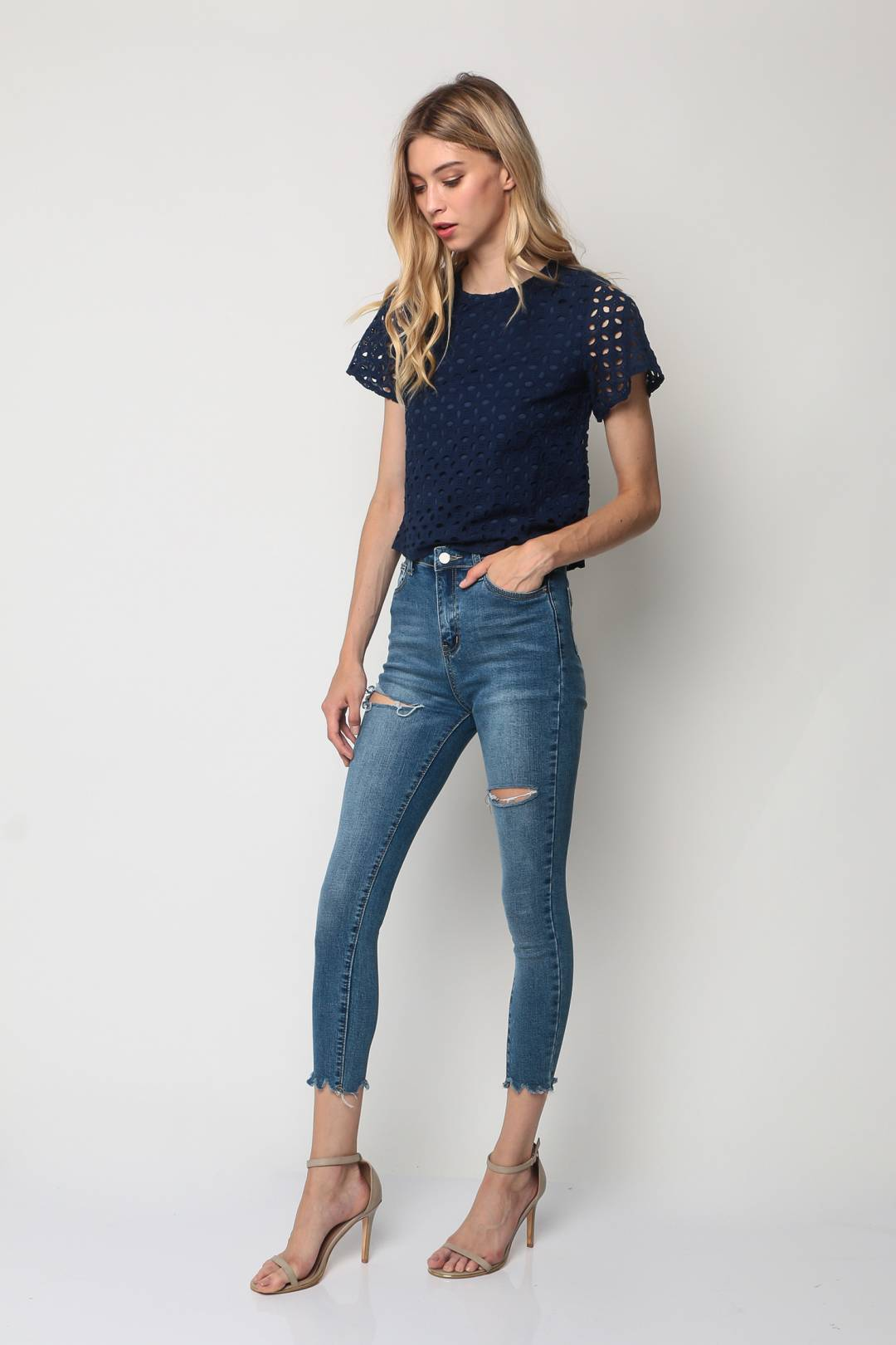 Crochet Lace Top (Navy)
