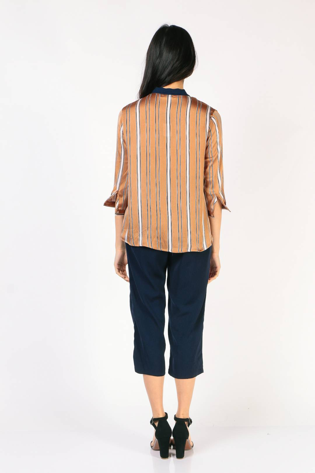 Tie Neck Blouse (Khaki Stripe)