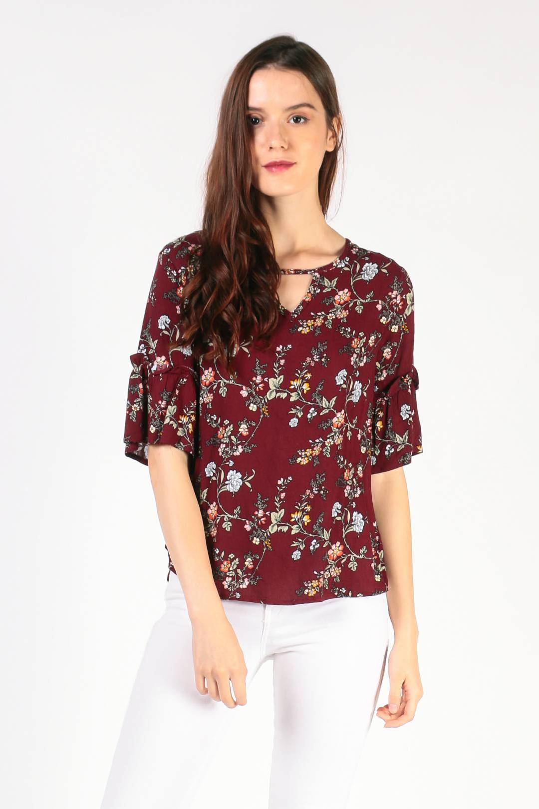 Frill Sleeve Top (Maroon Floral)