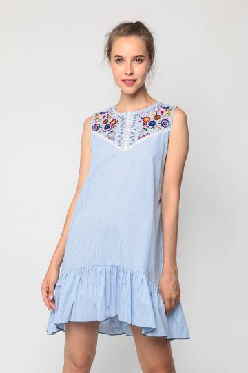 Sleeveless Embroidered Fluted Hem Dress (Blue)