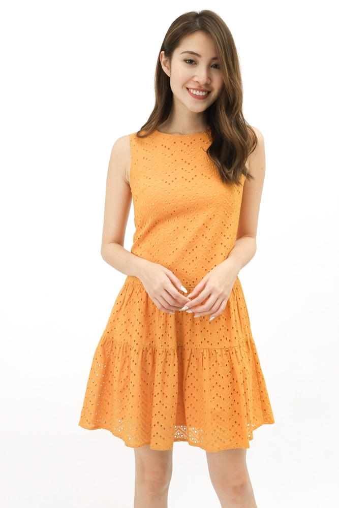 DOROTEA TIERED EYELET DRESS (MARIGOLD)