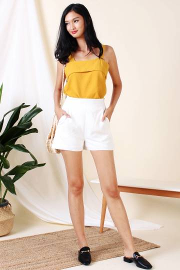 LEONA SIDE ZIP SHORTS WHITE