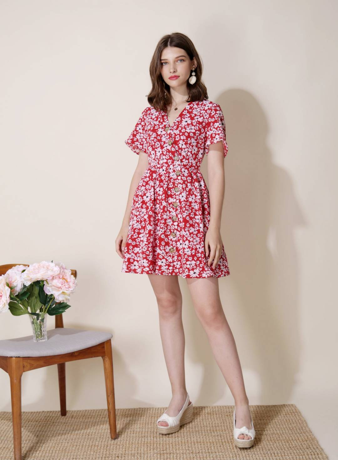 Riviera Button Front Floral Dress (Red)