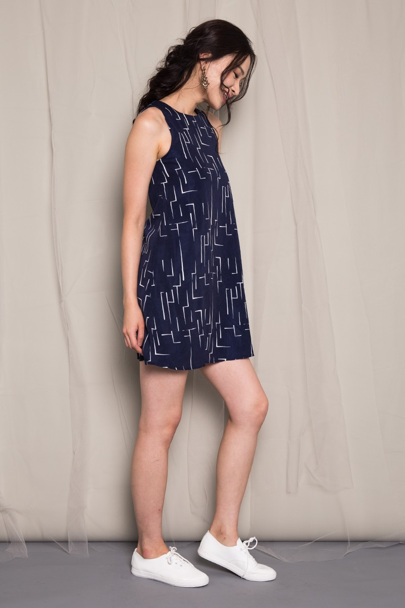 Delyth Printed Dress in Midnight Navy