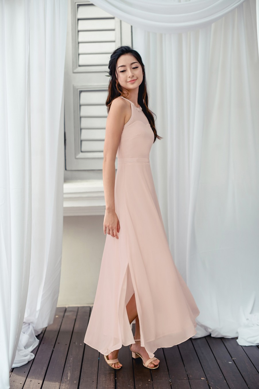 Beads For Elegance Maxi Dress (Nude Pink)