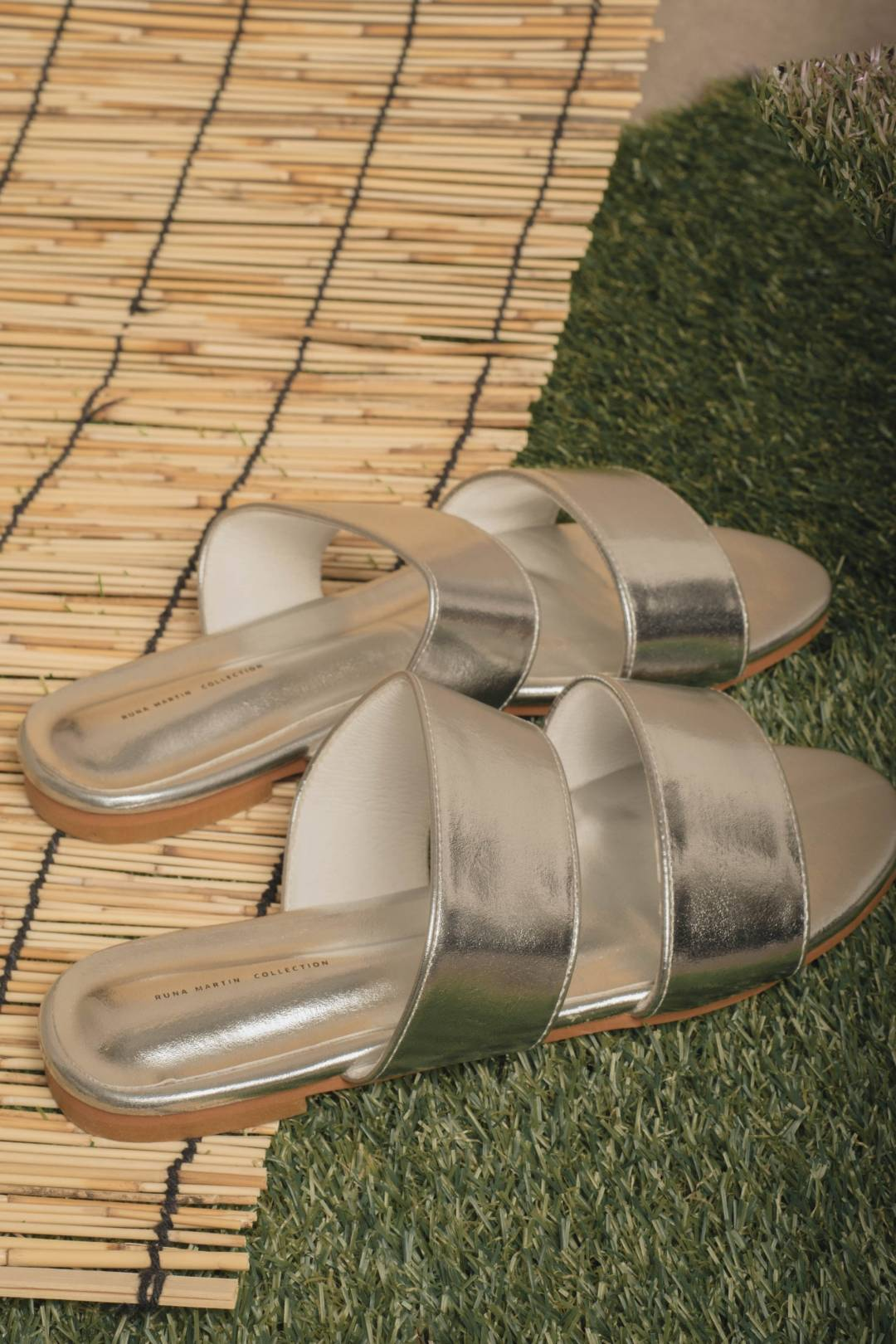 Double Strap Sliders in Silver