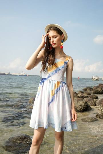 MADEBYNM JENNA SUMMER SUNDRESS IN BLUE ABSTRACT [S/M/L]