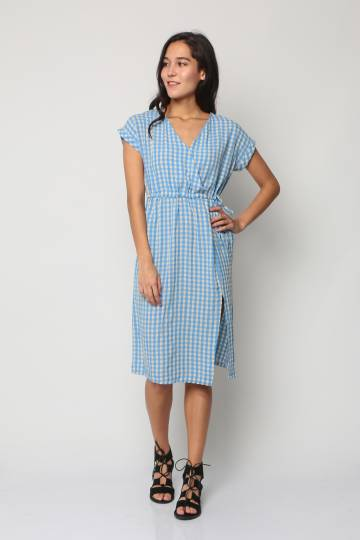 V Neck Gingham Dress (Blue)