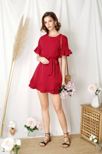 Daylight Ruffle Edge Dress (Scarlet)