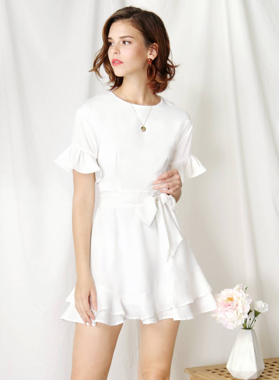 Daylight Ruffle Edge Dress (White)