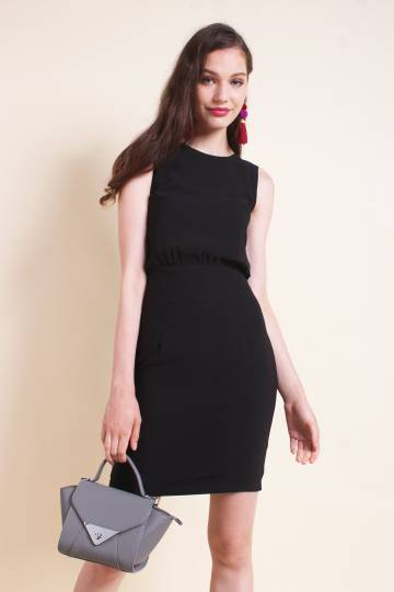 MADEBYNM CARLYN FITTED MIDI WORK DRESS IN BLACK [XS/S/M/L]