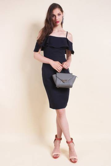 MADEBYNM MARLOWE COLD SHOULDER RUFFLES FITTED DRESS IN NAVY BLUE [XS/S/M/L]