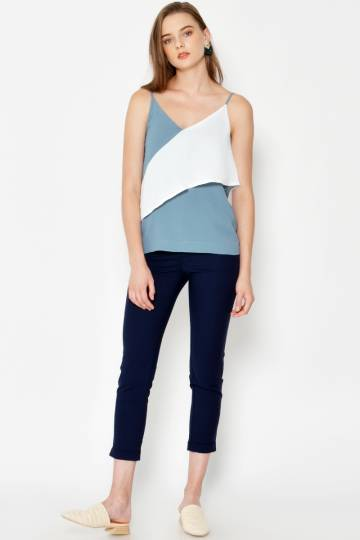 LIAM COLOURBLOCK LAYERED CAMI ASH BLUE
