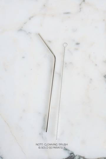 Angled Metal Straw (Silver)
