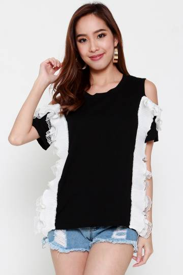 Faith Pearl Top in Black