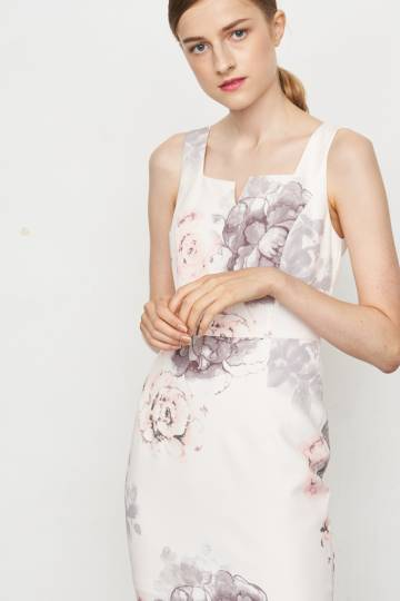 Leandra Floral V Notch Dress, By Lovengold