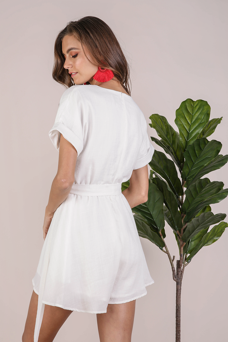 Gren Sleeved Romper (White)