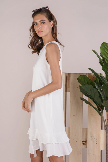Andra Tiered Midi Dress (White)