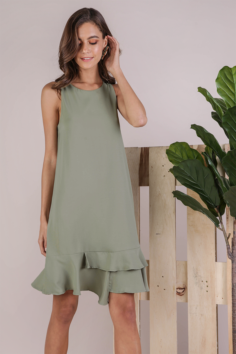 Andra Tiered Midi Dress (Sage Green)