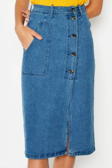 TOMMY DENIM BUTTONDOWN SKIRT