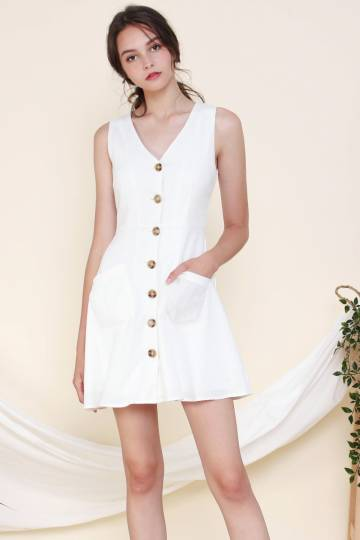 KERI POCKET DRESS WHITE