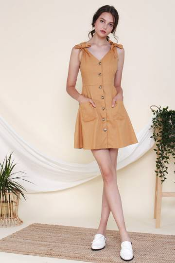 KERI POCKET DRESS CARAMEL