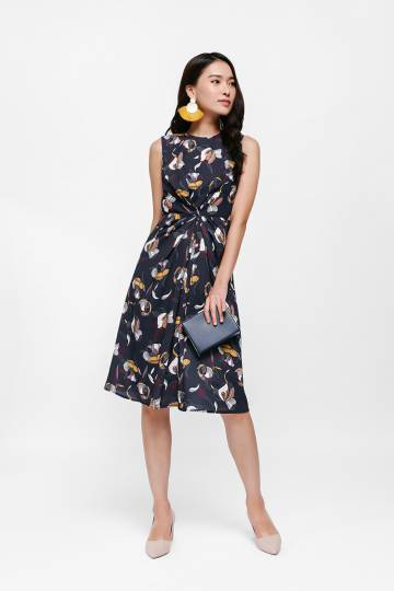 Mariposa Knot Front Floral Dress