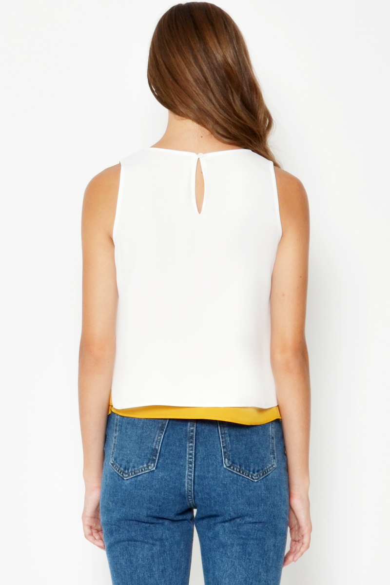 ROMI CONTRAST LAYERED REVERSIBLE TOP WHITE