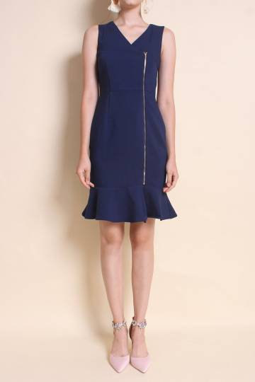 BLAIRE TWO-WAY ZIPPER FLUTED WORK DRESS IN NAVY BLUE [XS/S/M/L]