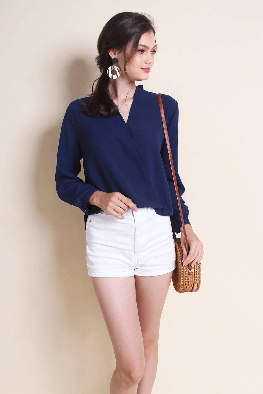 MADEBYNM MEREDINE HI-LO CLASSY BLOUSE IN NAVY BLUE [XS/S/M/L]