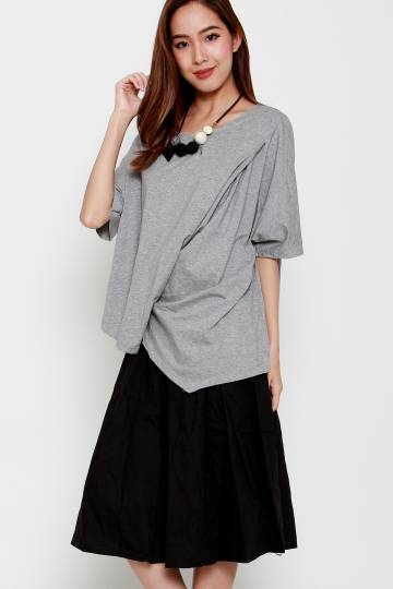 Chai Dress in Grey Black