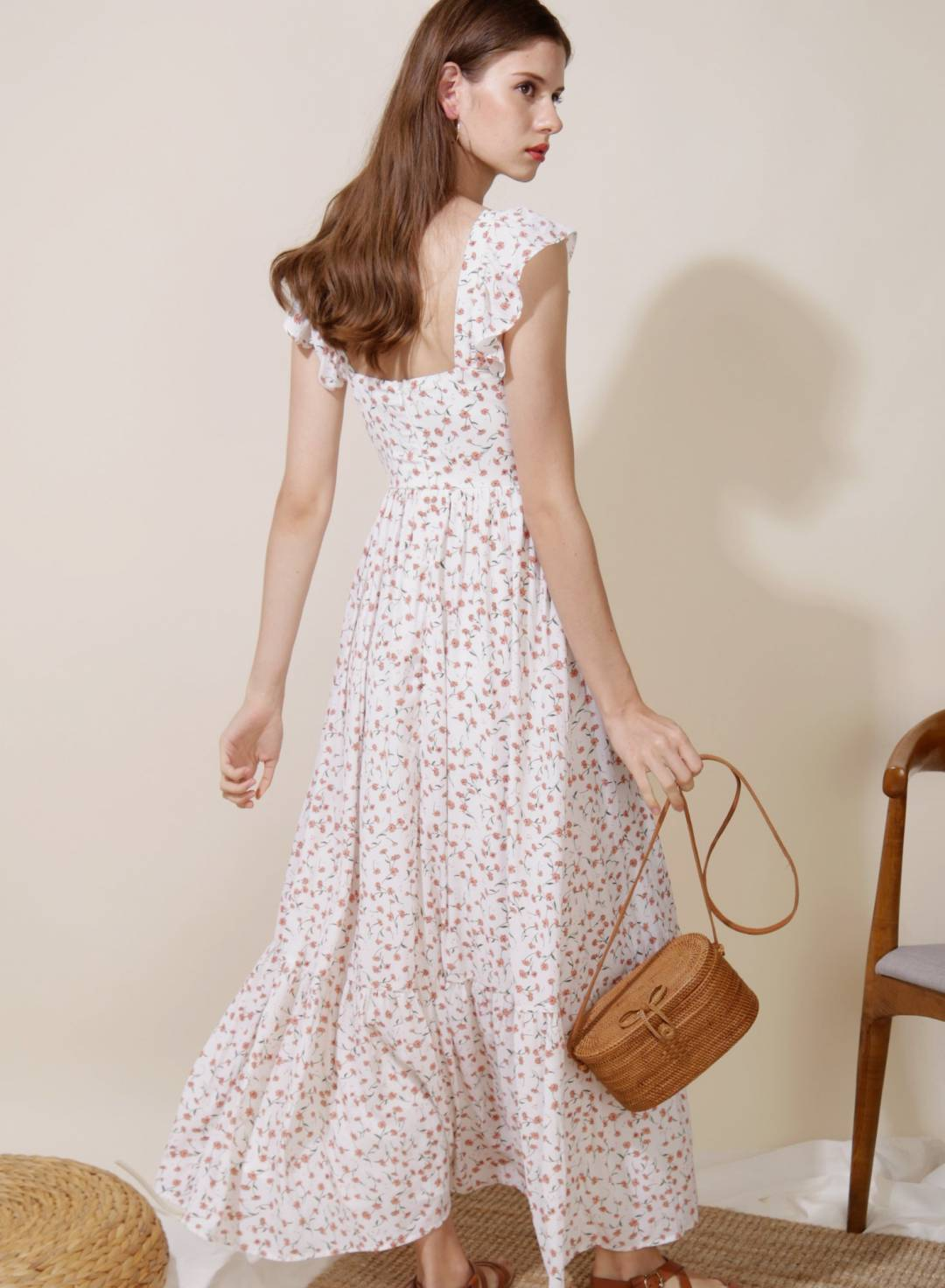 Ceremony Frill Straps Maxi Dress (Floral)