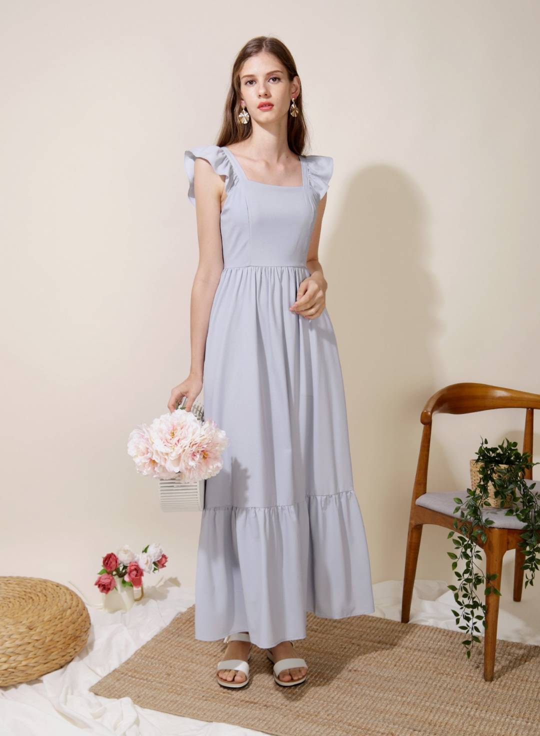 Ceremony Frill Straps Maxi Dress (Lilac Grey)
