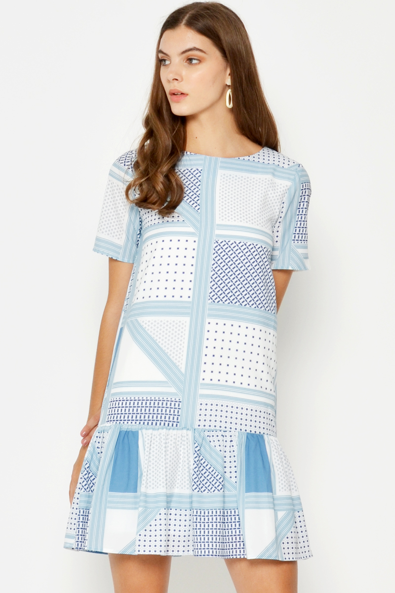 GIGI GEOMETRIC DROPWAIST DRESS LIGHT BLUE