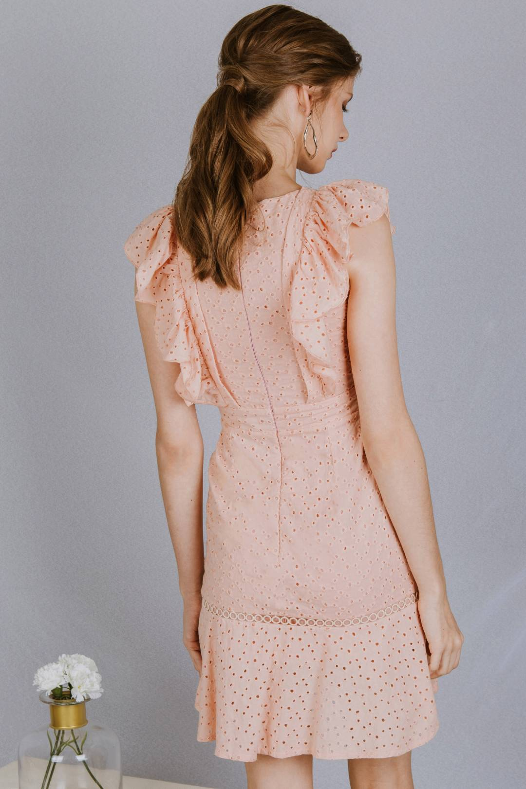 Venus Ruffle Crochet Dress